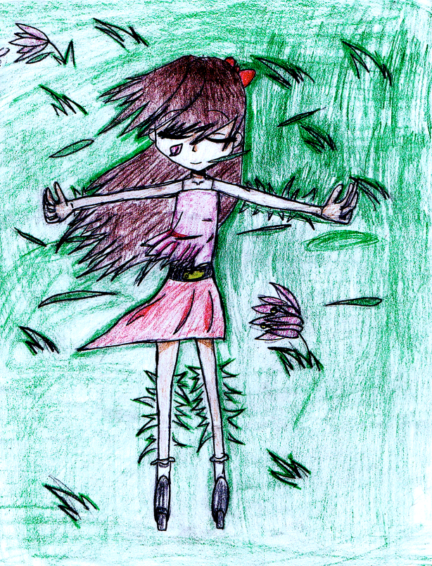 Girl in the Grass drawing by: Sonia M., Age 11, Chicago, Illinois