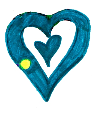 Blue Heart drawing by: Aileah T., Age 11, Houston, Texas