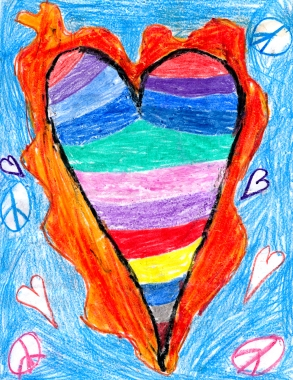 Rainbow Hearts and Peace drawing by: Maria A.