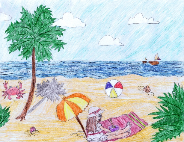 Beach drawing by: Preeti S., Age 12, Los Angeles, California